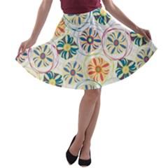 Flower Rainbow Fan Sunflower Circle Sexy A Line Skater Skirt