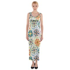 Flower Rainbow Fan Sunflower Circle Sexy Fitted Maxi Dress