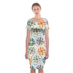 Flower Rainbow Fan Sunflower Circle Sexy Classic Short Sleeve Midi Dress