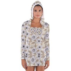 Flower Rose Sunflower Gray Star Long Sleeve Hooded T Shirt