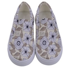 Flower Rose Sunflower Gray Star Kids  Canvas Slip Ons