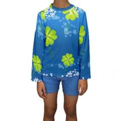 Flower Shamrock Green Blue Sexy Kids  Long Sleeve Swimwear