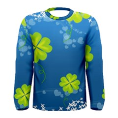 Flower Shamrock Green Blue Sexy Men s Long Sleeve Tee
