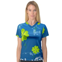 Flower Shamrock Green Blue Sexy V Neck Sport Mesh Tee