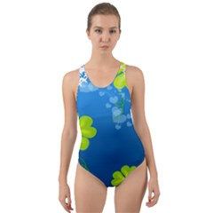 Flower Shamrock Green Blue Sexy Cut Out Back One Piece Swimsuit