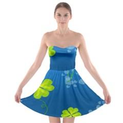 Flower Shamrock Green Blue Sexy Strapless Bra Top Dress