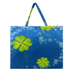 Flower Shamrock Green Blue Sexy Zipper Large Tote Bag
