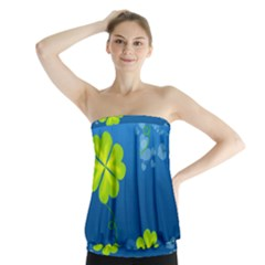 Flower Shamrock Green Blue Sexy Strapless Top
