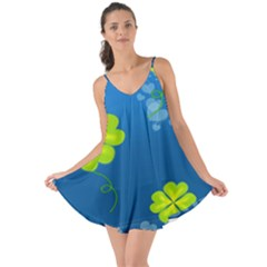 Flower Shamrock Green Blue Sexy Love The Sun Cover Up