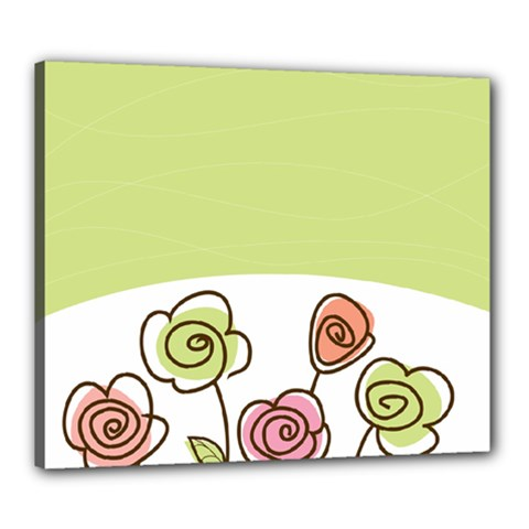 Flower Simple Green Rose Sunflower Sexy Canvas 24  X 20