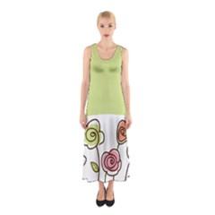 Flower Simple Green Rose Sunflower Sexy Sleeveless Maxi Dress