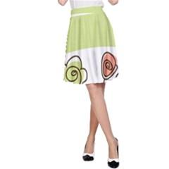 Flower Simple Green Rose Sunflower Sexy A Line Skirt