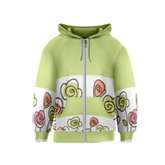 Flower Simple Green Rose Sunflower Sexy Kids  Zipper Hoodie