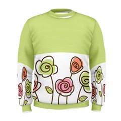 Flower Simple Green Rose Sunflower Sexy Men s Sweatshirt