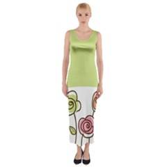 Flower Simple Green Rose Sunflower Sexy Fitted Maxi Dress