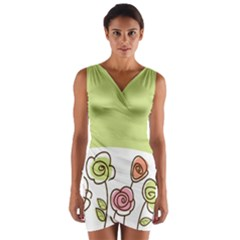 Flower Simple Green Rose Sunflower Sexy Wrap Front Bodycon Dress