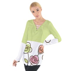 Flower Simple Green Rose Sunflower Sexy Tie Up Tee