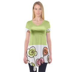 Flower Simple Green Rose Sunflower Sexy Short Sleeve Tunic