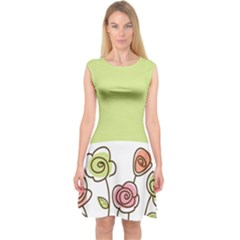 Flower Simple Green Rose Sunflower Sexy Capsleeve Midi Dress