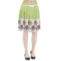 Flower Simple Green Rose Sunflower Sexy Pleated Skirt