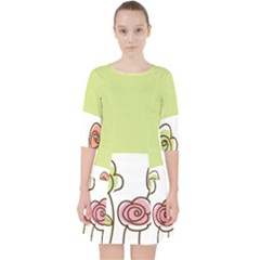 Flower Simple Green Rose Sunflower Sexy Pocket Dress