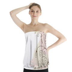 Flower Simple Pink Strapless Top