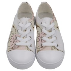 Flower Simple Pink Kids  Low Top Canvas Sneakers