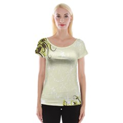 Flower Star Floral Green Camuflage Leaf Frame Cap Sleeve Tops