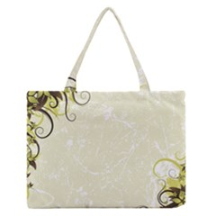 Flower Star Floral Green Camuflage Leaf Frame Zipper Medium Tote Bag