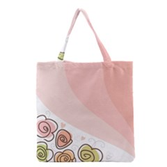 Flower Sunflower Wave Waves Pink Grocery Tote Bag