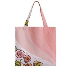 Flower Sunflower Wave Waves Pink Zipper Grocery Tote Bag