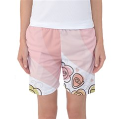 Flower Sunflower Wave Waves Pink Women s Basketball Shorts
