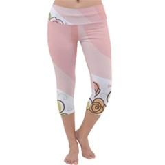 Flower Sunflower Wave Waves Pink Capri Yoga Leggings
