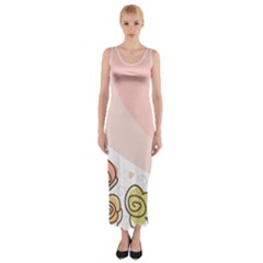 Flower Sunflower Wave Waves Pink Fitted Maxi Dress