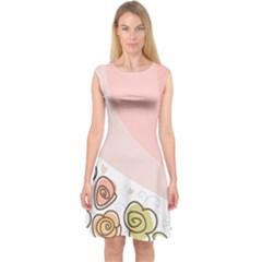 Flower Sunflower Wave Waves Pink Capsleeve Midi Dress