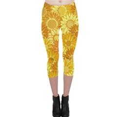 Flower Sunflower Floral Beauty Sexy Capri Leggings