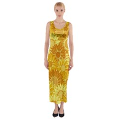Flower Sunflower Floral Beauty Sexy Fitted Maxi Dress