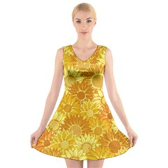 Flower Sunflower Floral Beauty Sexy V Neck Sleeveless Skater Dress