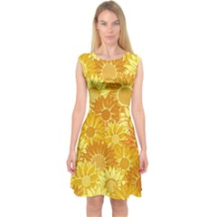 Flower Sunflower Floral Beauty Sexy Capsleeve Midi Dress