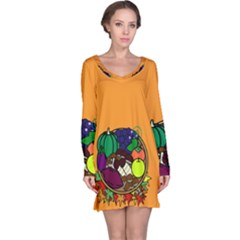 Healthy Vegetables Food Long Sleeve Nightdress