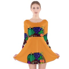 Healthy Vegetables Food Long Sleeve Velvet Skater Dress