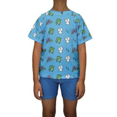 Frog Ghost Rain Flower Green Animals Kids  Short Sleeve Swimwear