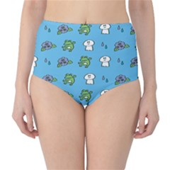Frog Ghost Rain Flower Green Animals High Waist Bikini Bottoms