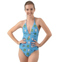 Frog Ghost Rain Flower Green Animals Halter Cut Out One Piece Swimsuit