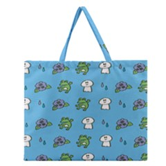 Frog Ghost Rain Flower Green Animals Zipper Large Tote Bag