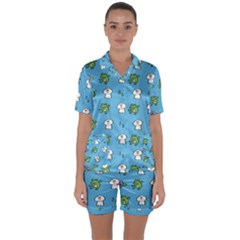 Frog Ghost Rain Flower Green Animals Satin Short Sleeve Pyjamas Set