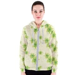 Leaf Green Star Beauty Women s Zipper Hoodie