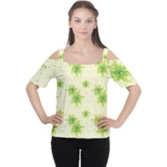 Leaf Green Star Beauty Cutout Shoulder Tee