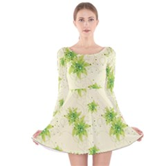 Leaf Green Star Beauty Long Sleeve Velvet Skater Dress