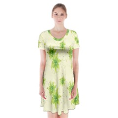 Leaf Green Star Beauty Short Sleeve V Neck Flare Dress